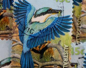 SALE // Sacred Kingfisher Postage Stamps // Australian Native Bird // Nature // Scrapbooking Supplies // Paper Craft // Ephemera // Journal