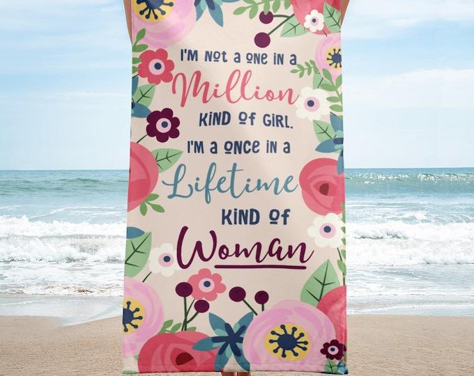 Feminine Towel, Floral Beach Towel, Floral Bath Towel, Bridesmaid Gift Beach Towel, Wedding Beach Towel, Wedding Gift, Wedding Favor, Towels