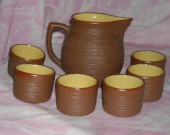 Vintage Pigeon Forge Pottery Set with Pitcher and 6 Handleless Cups