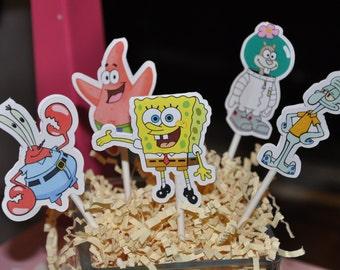 Spongebob Squarepants Cupcake Toppers Set of 12