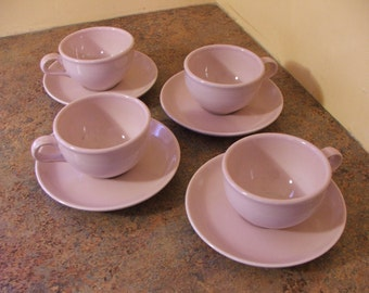 Set of Four (4) Vintage 1950s Russel Wright Iroquois Casual Restyled / Redesigned Cups and Saucers in Pink Sherbet