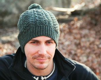 Caiseal Aran Fisherman Hat Loden Green Wool Size Adult Large