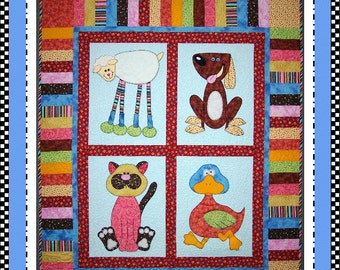 Lulabelle & Playmates Appliqué Quilt Digital Pattern (#105) - Instant Download