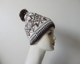 VINTAGE ombre brown knit BEANIE winter HAT - dale of norway - pure new wool