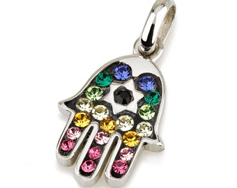 Hamsa Silver Pendant With Multi Colors Gemstones + 925 Sterling Silver Chain #3