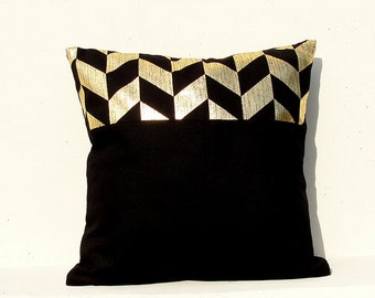 Gold Cushion Cover, Geometric Pillow Case, Holiday Decorative Pillow Case , Gold 02