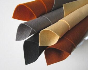 Pure Wool Felt, Five Piece Set, Felt Fabric, Urban Loft, Merino Wool Fiber, Apricot, Copper, Silver, Smoke, Sweet Potato, Primitive