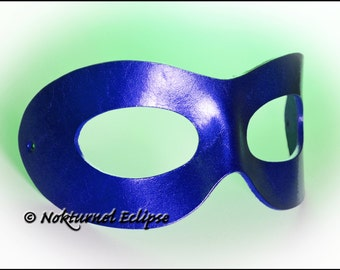 Metallic Blue Leather Mask Superhero Cosplay Masquerade Ball Party Marvel Geek Halloween Costume UNISEX -  Available In Any Basic Color
