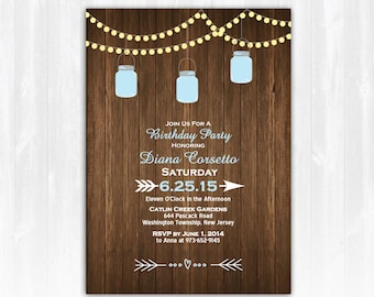 Mason Jar Birthday Invitation  DIY PRINTABLE Digital File or Print (extra) String Lights Birthday Invitation Wood Birthday Invitation