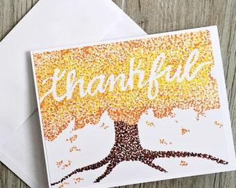 Thankful Hand Lettered Pointillism Blank Inside Card