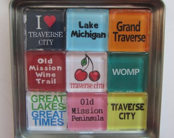TRAVERSE CITY, Michigan, Up North Michigan, Magnets Set, Northwest Michigan Souvenir