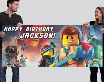 Customized Happy Birthday Vinyl Banner - Lego Movie