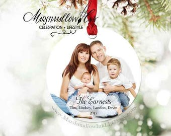 Personalized Christmas Ornament - Family Photo Ornament - Custom Picture Ornament - Christmas Gift, 1st Christmas Ornament