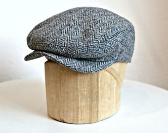 Men's Driving Cap - Men's Flat Cap - Tweed Driving Cap - Herringbone Tweed Cap - Made to Order in Your Size