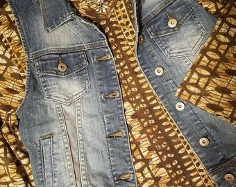 Camel Dyed Denim Vest, Upcycled, Refashioned, Textile Art, Junior Sizing-Small, Distressed