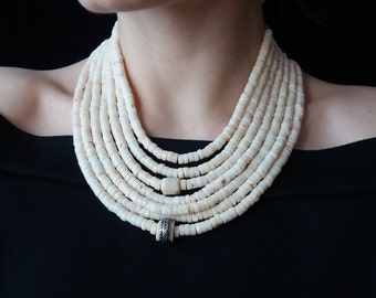 Bridal Coral Necklace White Coral Beads Necklace White Coral Necklace Ukrainian Coral Bead Antique Necklace Vintage Necklace Natural Coral 9