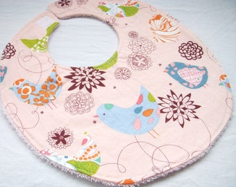 Baby Girl Bib - Starling in Pink - Birds - Modern baby boutique - Cotton bib with pink terry cloth backing