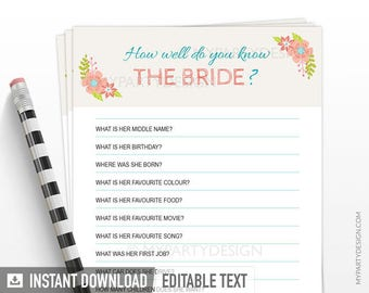 How well do you know the Bride - Bridal Shower Game - Engagement - Ivory floral theme - INSTANT DOWNLOAD - Printable PDF with Editable Text