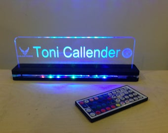 Custom Desktop Nameplate LED Edge Lit Acrylic Laser Engraved and Cut Sign on Lighted Acrylic Base With Remote