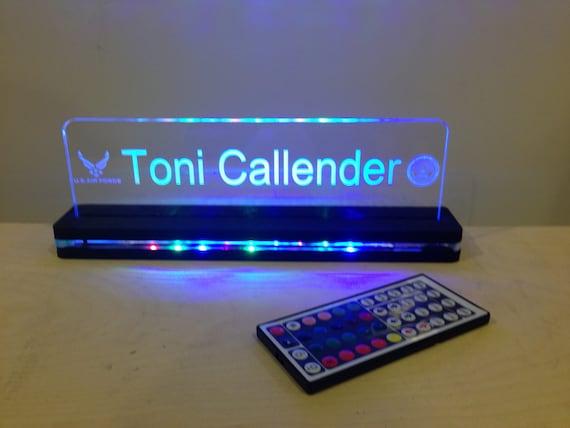 Custom Desktop Nameplate Led Edge Lit Acrylic Laser Engraved
