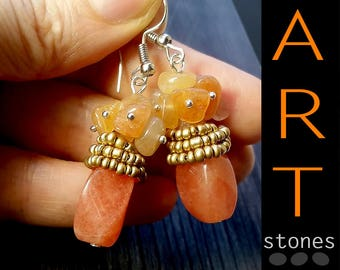 Carnelian earrings gift\gift Carnelian stone earrings\gift Carnelian earrings orange\real Carnelian earrings gift\honey stone earrings gift