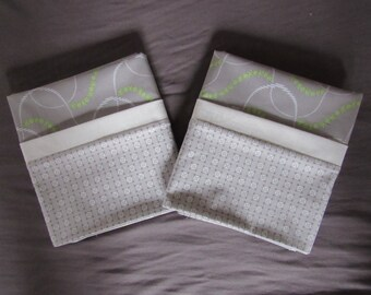 Grey and Green Contemporary Pillow Cases