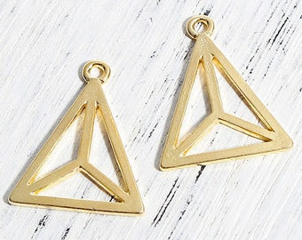 geometric gold triangle charms 6 smooth flat 21x14mm