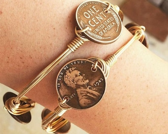 Wheat Penny Jewelry, Vintage Coin, Coin Bracelet, Stackable Bangles, Wire Wrap Bangles, Non-Tarnish Wire, Beautiful Large Stones,  Bracelets