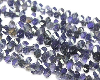 Water Sapphire Blue Iolite Faceted Briolette Tear Drop Twisted Beads 10mm 7mm - Jewelry Supplies