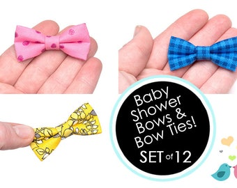 Baby Shower Bow Tie Mini Bow Tie 2 Inch Mini Baby Shower Bow Ties SET OF 12
