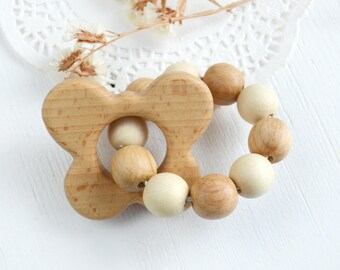 Butterfly Wood Teething Toy for Baby Rattle Teething Ring Natural Wooden teether Teething baby Gender neutral Shower gift first Easter gift
