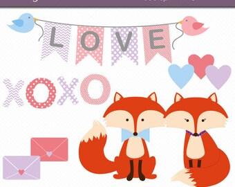 Valentine Fox Clipart Digital Art Set INSTANT DOWNLOAD Fox Clipart Valentine Clipart Love Clipart