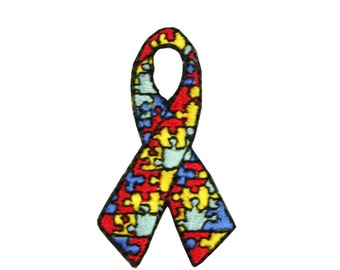 """2"""" X 1.25"""" Autism Awareness Ribbon Self-Adhesive Patch Jigsaw Puzzle Iron On Sticker Applique Motif Embellishment Craft Supplies CH13949"""
