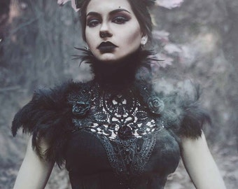 Black roses lace and feather collar-feather neckpiece-feather collar-lace and feather neck/shoulder piece-gothic collar-gothic chestpiece