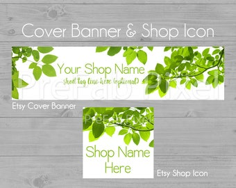 Etsy Shop Banners, Cover Photo, Green Leaf Etsy Banner, Shop Cover Banner, Tree Branch Banner, Store Banners, Nature, Organic, Leaves, Tree