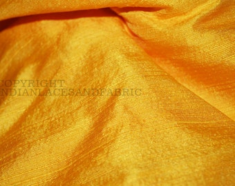 Pure Dupioni Silk fabric in Yellow -  raw silk fabric - Indian silk fabric byYard