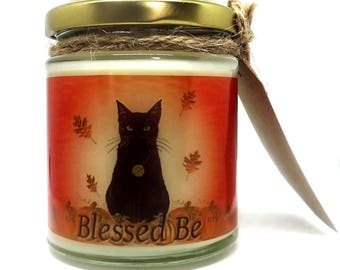 Samhain Black Cat Design, Pumpkin Scented Jar Candle, gift, Wiccan, Pagan, Wicca, Soy wax, Halloween