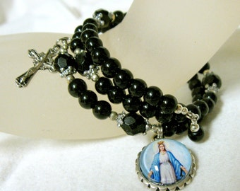 Black onyx rosary wrap bracelet with the Miraculous Medal - WB01-450