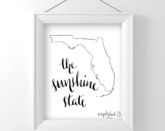 The Sunshine State, art print, calligraphy, typography, florida state, state print