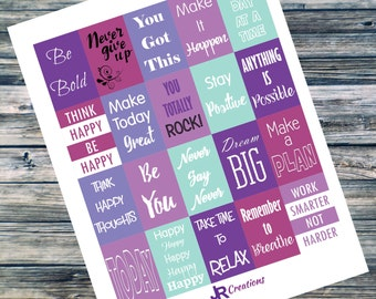 Full Box Motivational Printable Stickers for Happy Planner - Digital Download