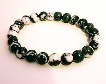 Black and White Zebra Stone Gemstone Bead Bracelet (8mm)