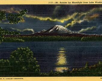 Mt Rainier by Moonlight from Lake Washington Vintage Postcard (unused)