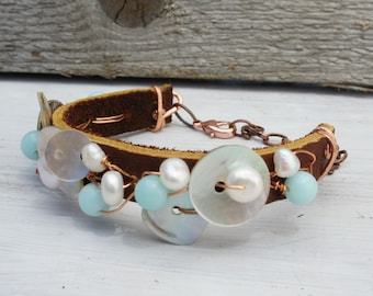 SHELLS PEARLS Leather COPPER bracelet beach day