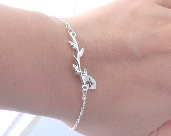 Personalized Chain Bracelet - initial leaf, branch chain bracelet - bridesmaid, friendship, wife, girlfriend, mother