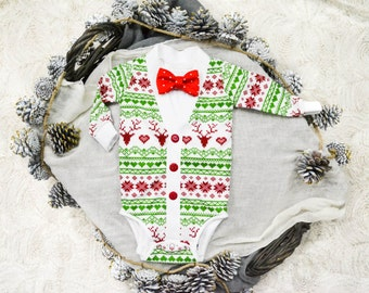 Christmas/Holiday Baby Preppy Cardigan Bow Tie Set: Red Reindeer Ugly Sweater Party Print and Bow Tie, Coming Home Outfit, Christmas Photos
