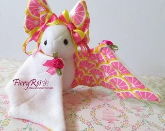Pink Lemonade White Bat, Pink Lemonade, Cute Bat, Bat Plush, Plushie, Stuffed Animal
