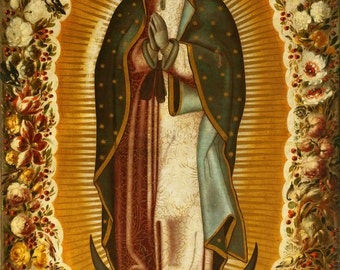 Our Lady of Guadalupe Mother Mary Catholic posters A4-A3 Virgin Mary print Virgin Mary art Virgin Mary painting Virgen de Guadelupe poster