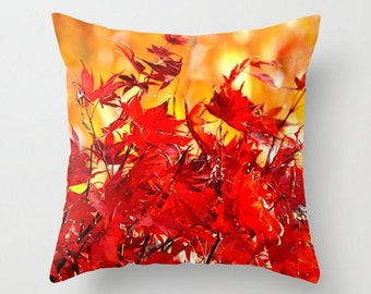 Bright Red Fall Leaves Throw Pillow, Orange Bokeh Photo, Autumn Scarlet Cushion, Golden Yellow Rustic Home Decor, Vivid Fall Colorful Trees