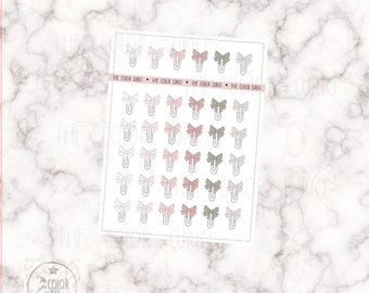 Bow Paper Clip Stickers - Pinks / Neutrals