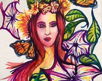 Moonflowers Monarchs and Cacti Spring Goddess Watercolor Painting